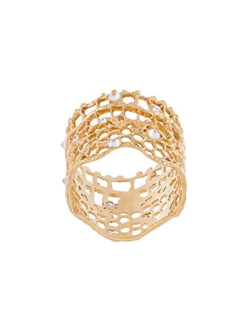 Aurélie Bidermann Polonaise couture diamond ring - Metallic oibYTZKCP