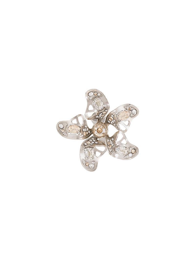 Lanvin Cutout Embellished Silver-Tone Earrings NpAdl
