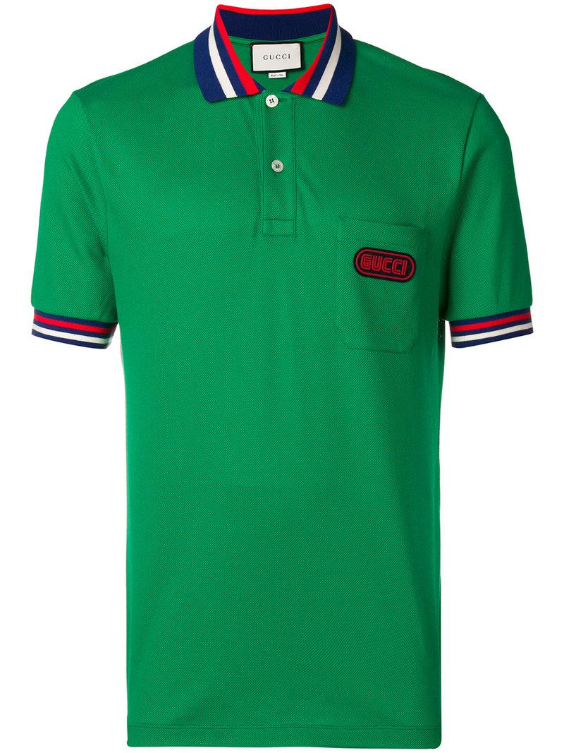 65d9b3e15be Gucci - Green Logo Patch Polo Shirt for Men - Lyst. View fullscreen