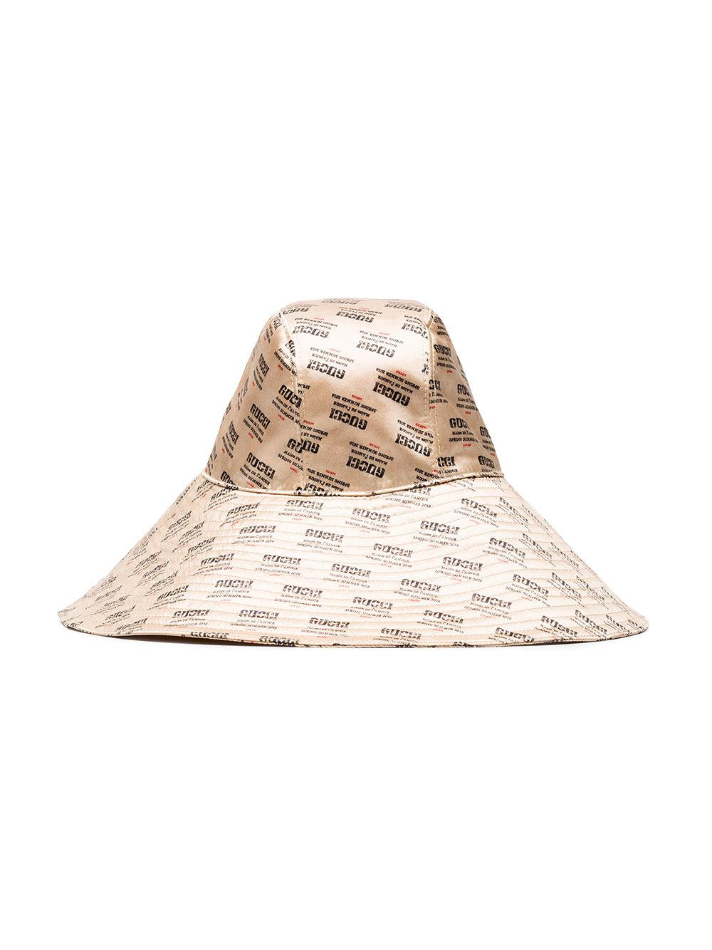 a8709c74b5b ... buying now 41a3d 0594b Gucci Ivory Invite Print Silk Hat in Natural -  Lyst ...