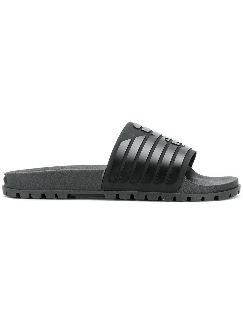 87513262b60 Lyst - Emporio Armani Ribbed Logo Slides in Black for Men