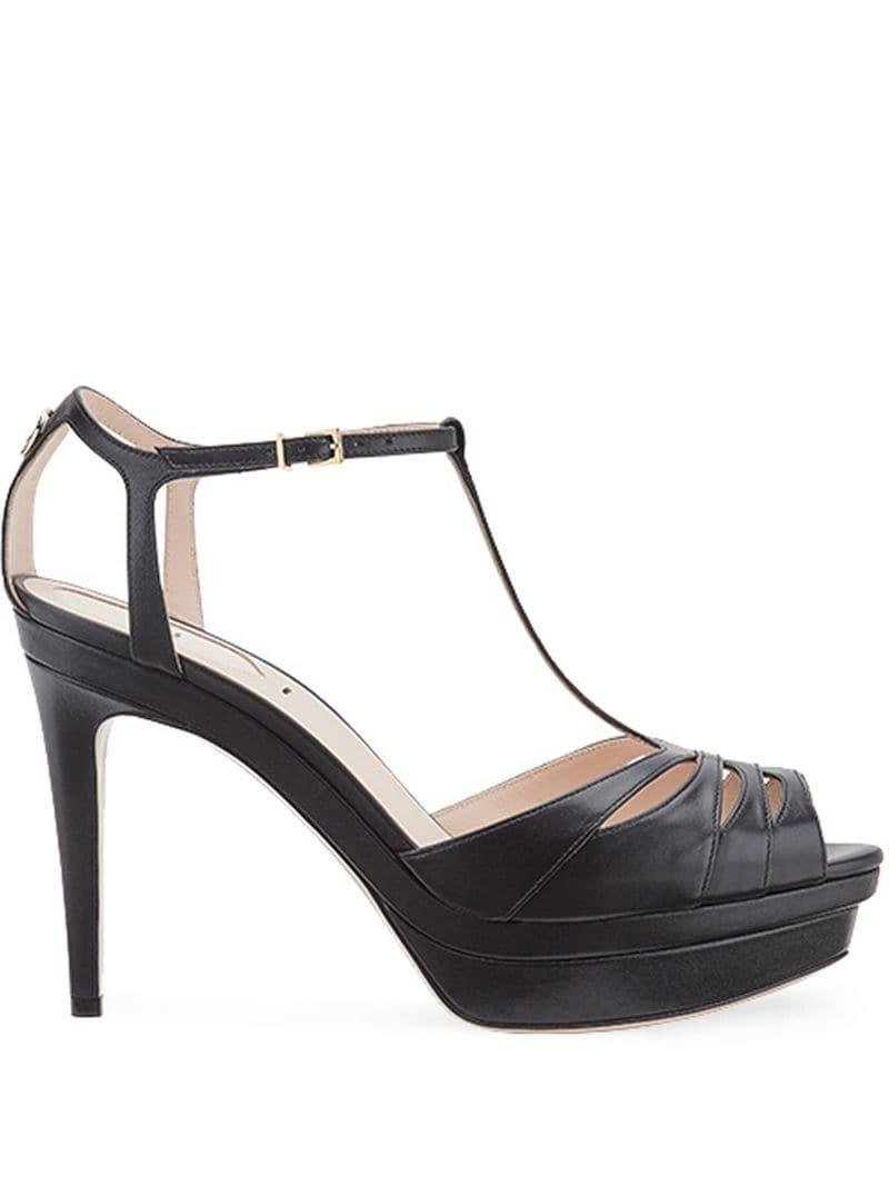 40d4b81a42c Fendi - Black T-bar Heeled Sandals - Lyst. View fullscreen