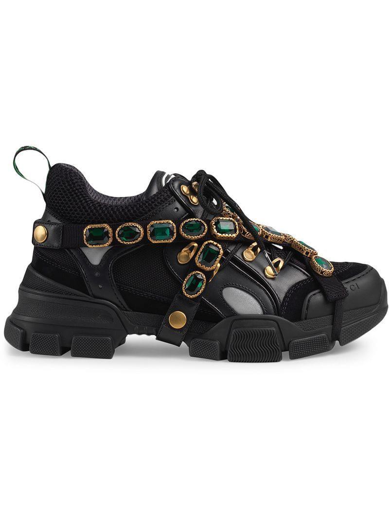 ee339787ea29d Gucci - Black Jeweled-strap Sneakers - Lyst. View fullscreen