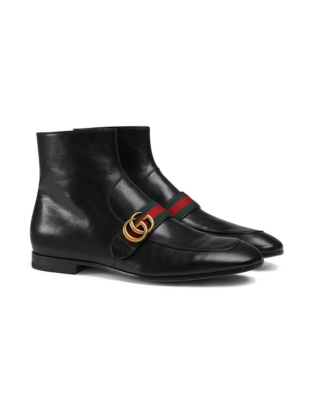 Gucci - Black Leather Boots With Double G for Men - Lyst. View fullscreen e5683b61134
