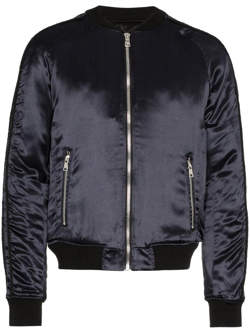 75c8582eb84f Balmain Galaxy Logo Print Bomber Jacket in Blue for Men - Lyst
