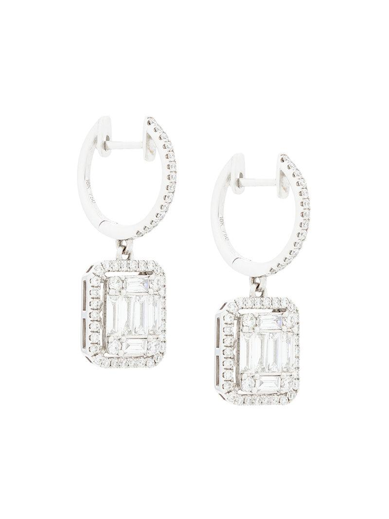 For Sale Cheap Real Gemco 18kt white gold square cut diamond drop earrings 2018 Newest For Sale hvZiv