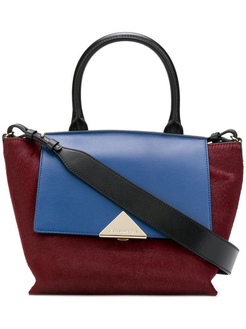 Emporio Armani Colour Block Tote Bag in Red - Lyst fbfa35dc28
