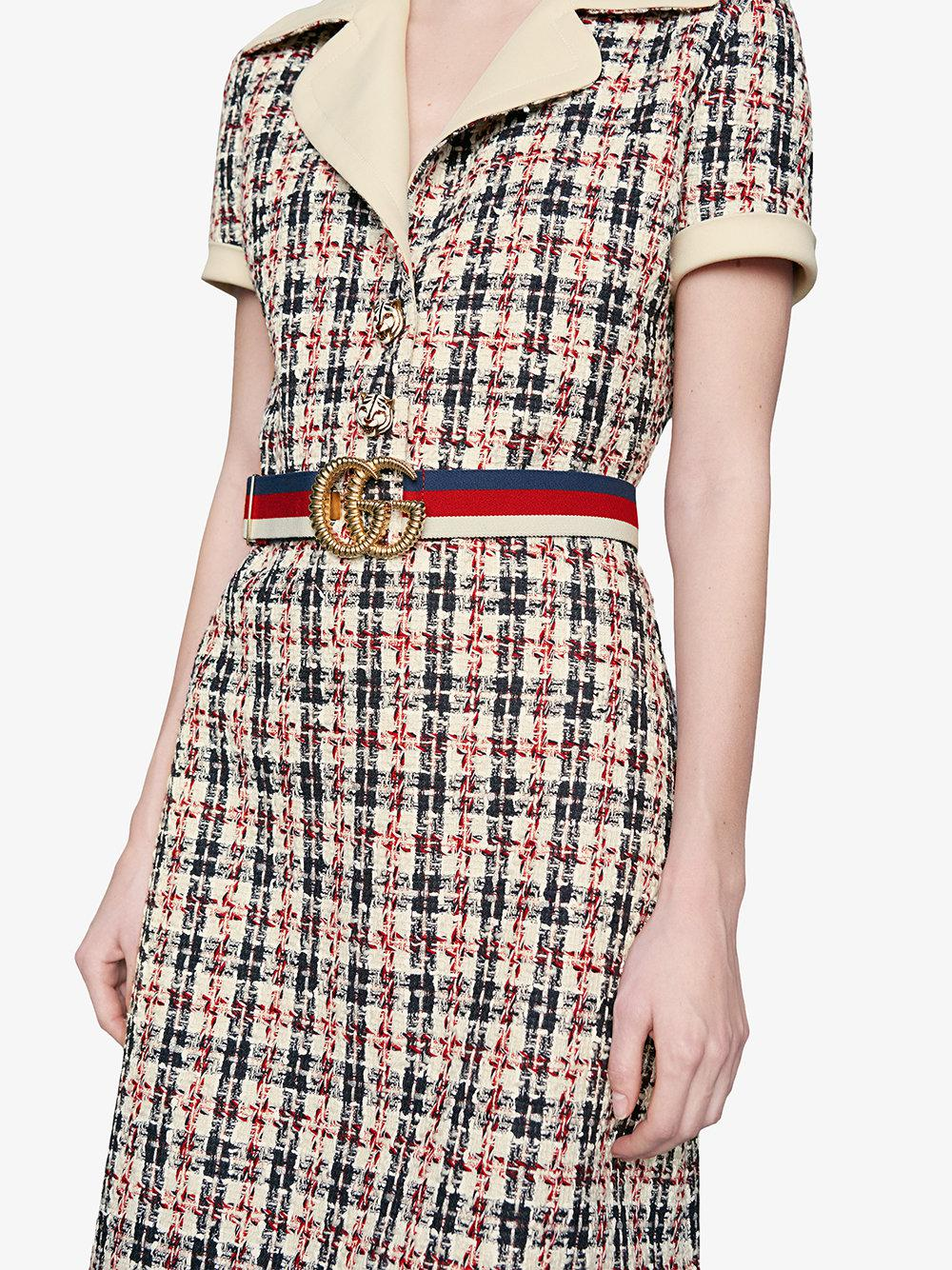 193a4815c56 Gucci Web Elastic Belt With Torchon Double G Buckle in Red - Lyst