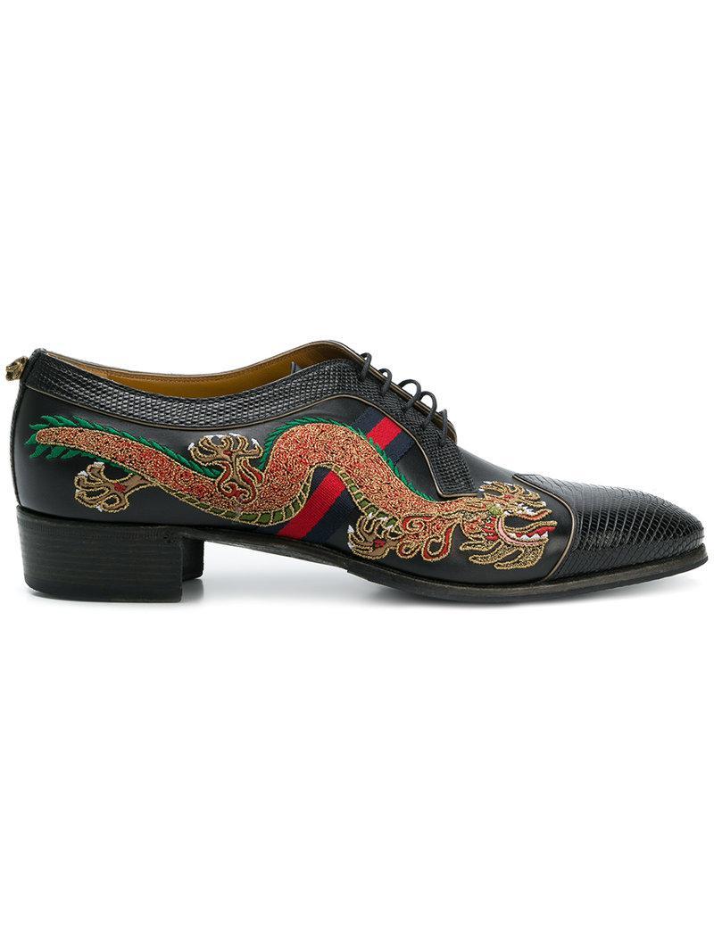 Lyst - Zapatos con dragón bordado Gucci de hombre de color Negro 64869170af1