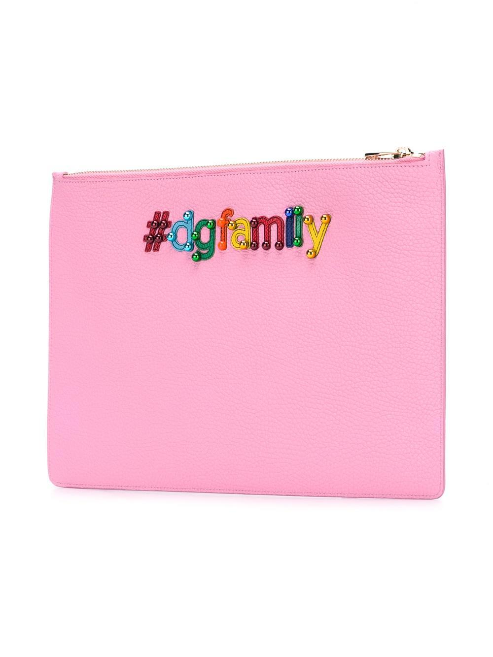 embroidered patch clutch - Pink & Purple Dolce & Gabbana