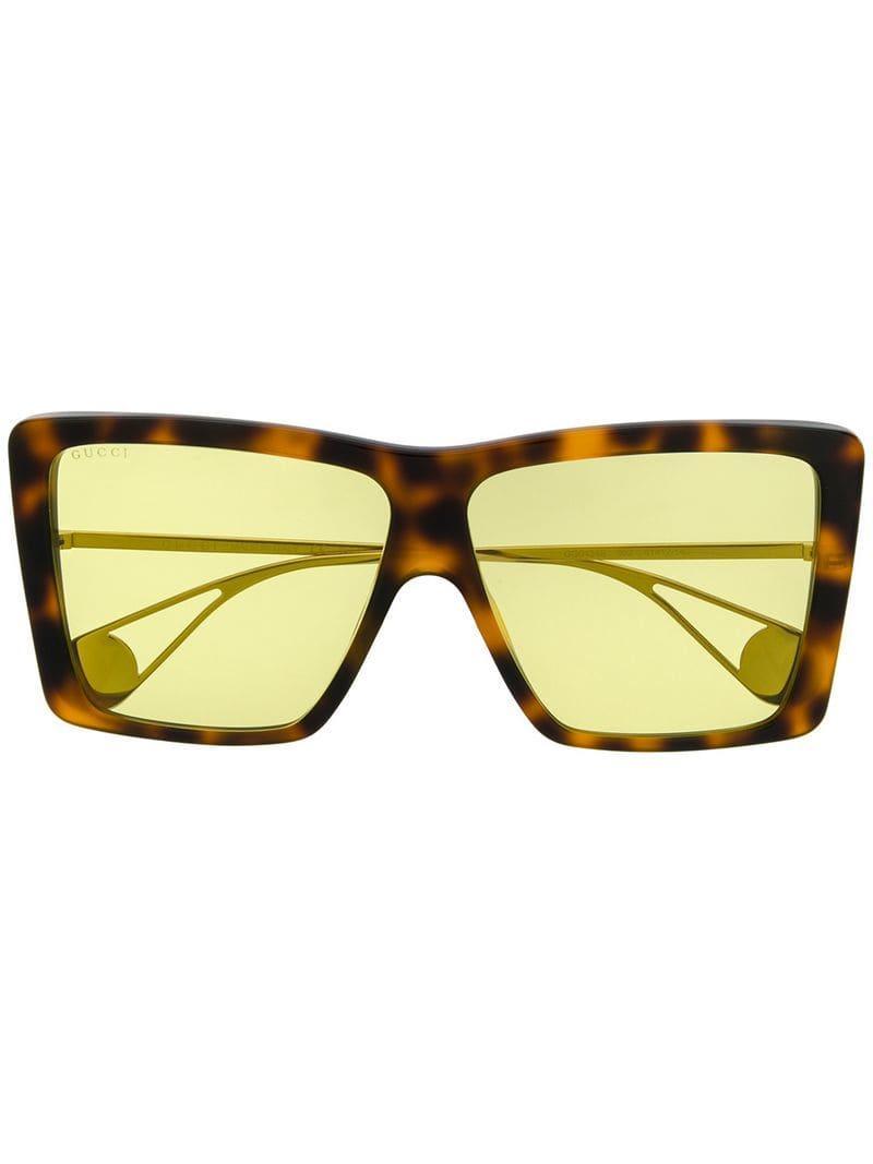 bf2ec8627f Gucci - Brown Oversized Sunglasses - Lyst. View fullscreen