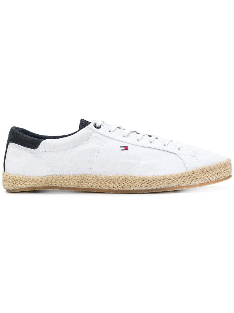 f09e156c50399 Lyst - Tommy Hilfiger Raffia Sole Lace-up Sneakers in White for Men
