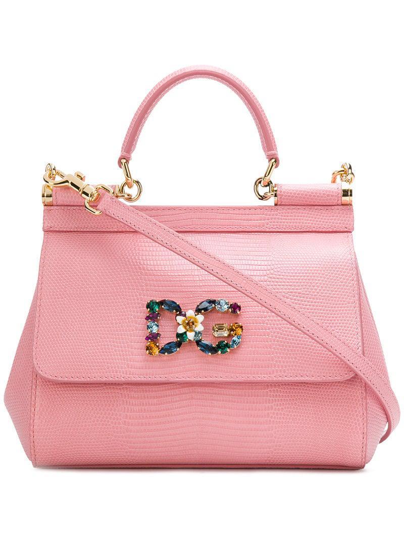 Lyst - Dolce   Gabbana Logo Embellished Sicily Shoulder Bag in Pink ... d8413f4235be5