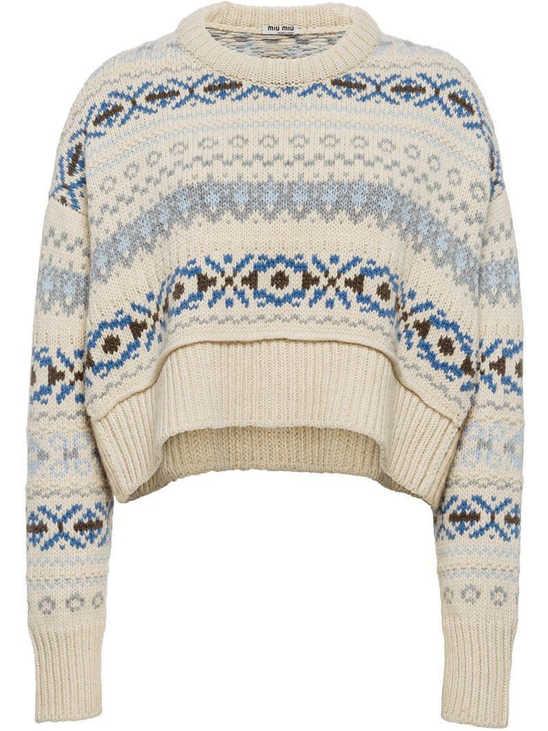 d2bdd2d5a4d Lyst - Miu Miu Jacquard Knit Jumper - Save 50%