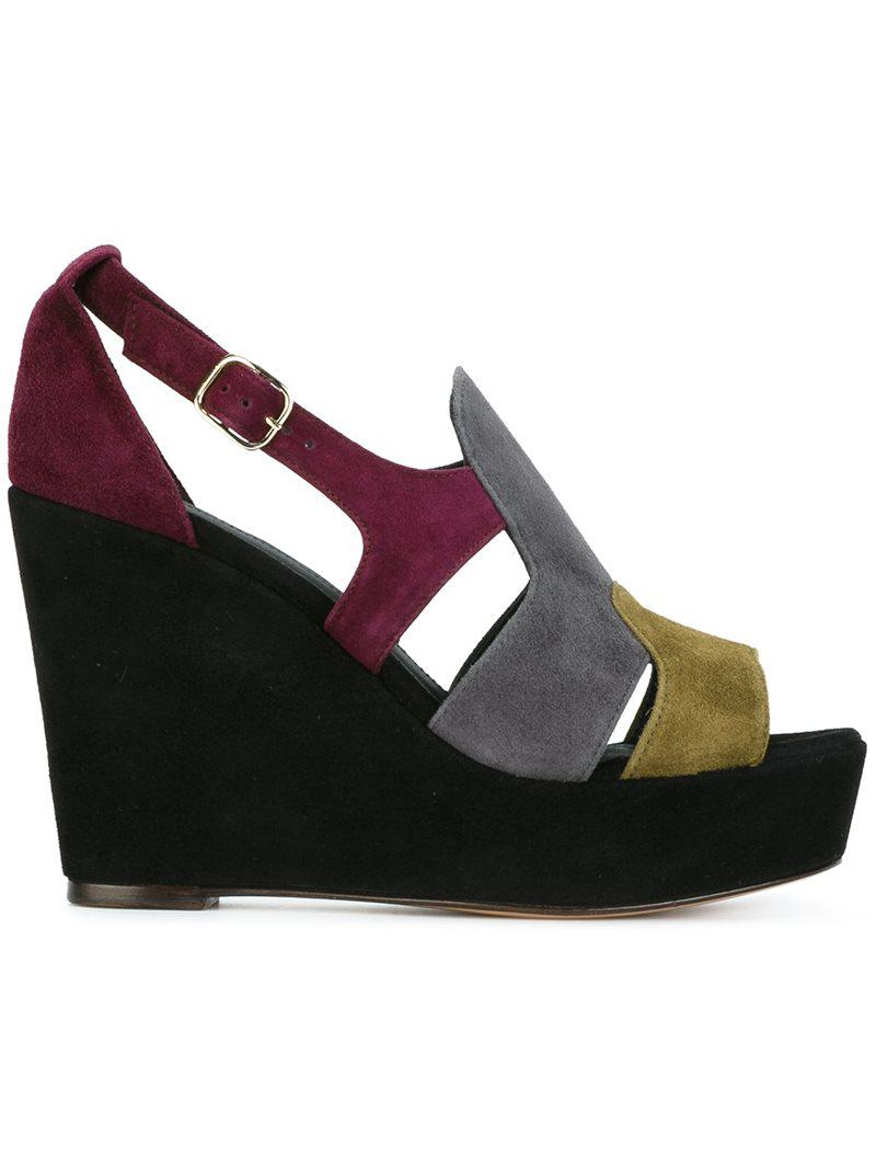 Tila March Colour block wedge sandals OXWEN