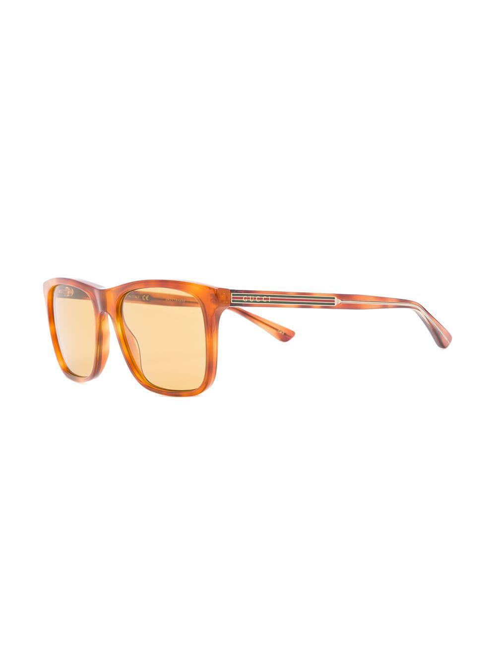 c63f152ae5a Gucci - Brown Rectangle Frame Sunglasses for Men - Lyst. View fullscreen