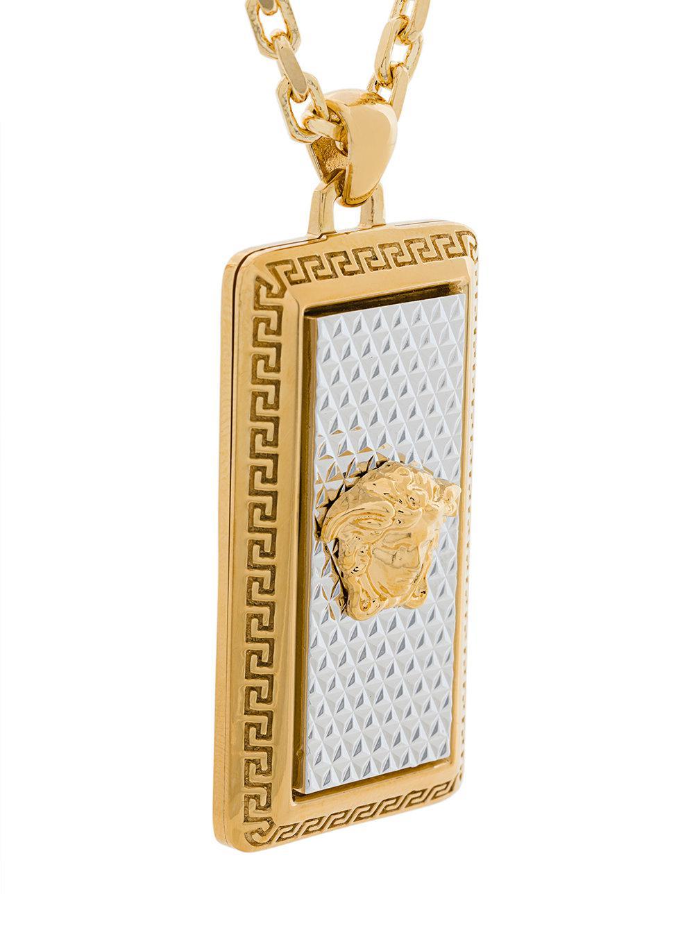 Lyst versace medusa pendant necklace in metallic for men gallery aloadofball Images