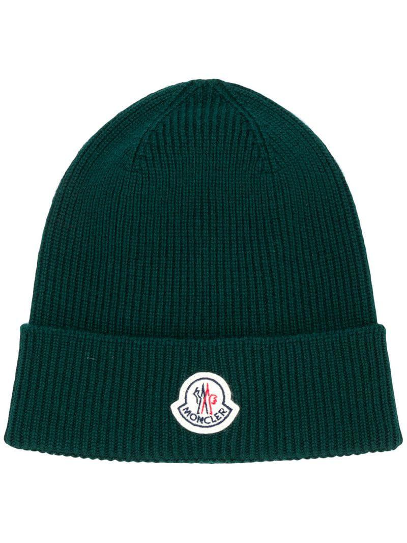 65251224c34 Moncler Ribbed Knit Beanie in Green for Men - Lyst