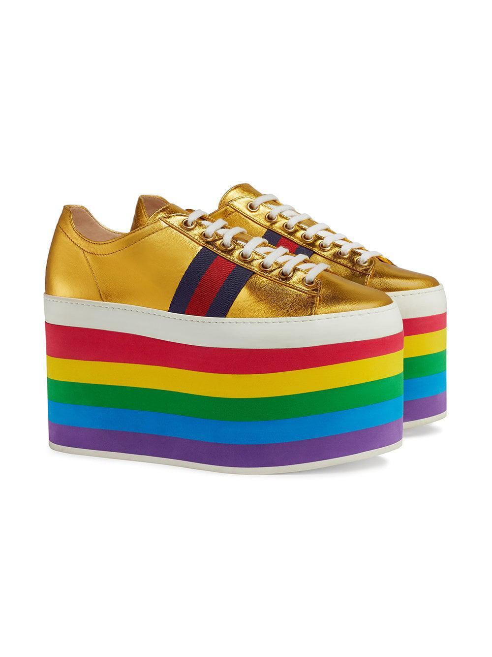 def476b9e Gucci - Yellow Metallic Platform Sneaker - Lyst. View fullscreen