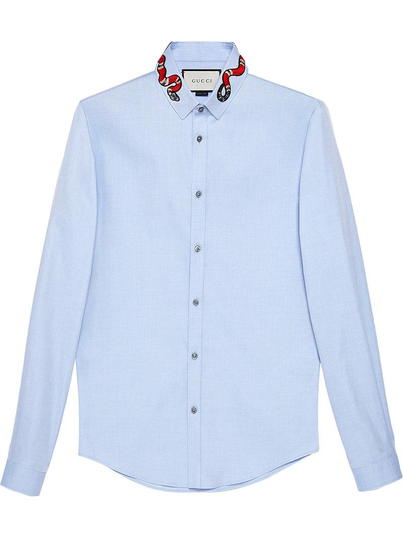 Gucci Oxford Duke Shirt With Snake in Blue for Men - Save ... 3bf1071ddfb