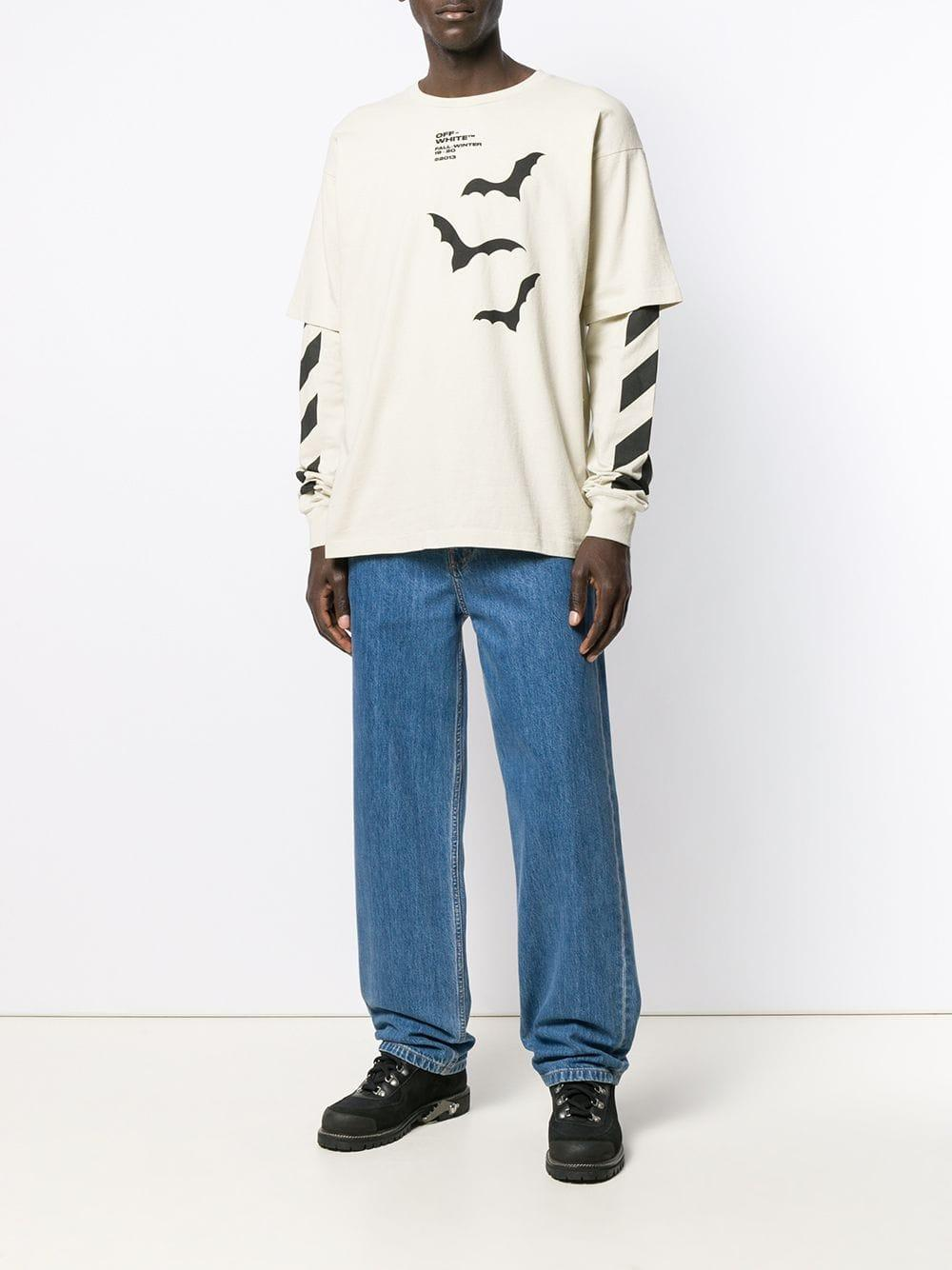 23113aeea71 Off-White c/o Virgil Abloh Diagonal Bats Double Sleeve T-shirt in Natural  for Men - Save 30% - Lyst