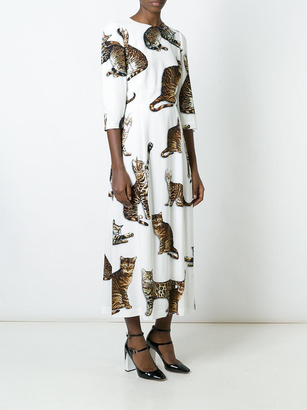 95df688fa0d Lyst - Dolce   Gabbana Cat Print Dress in White