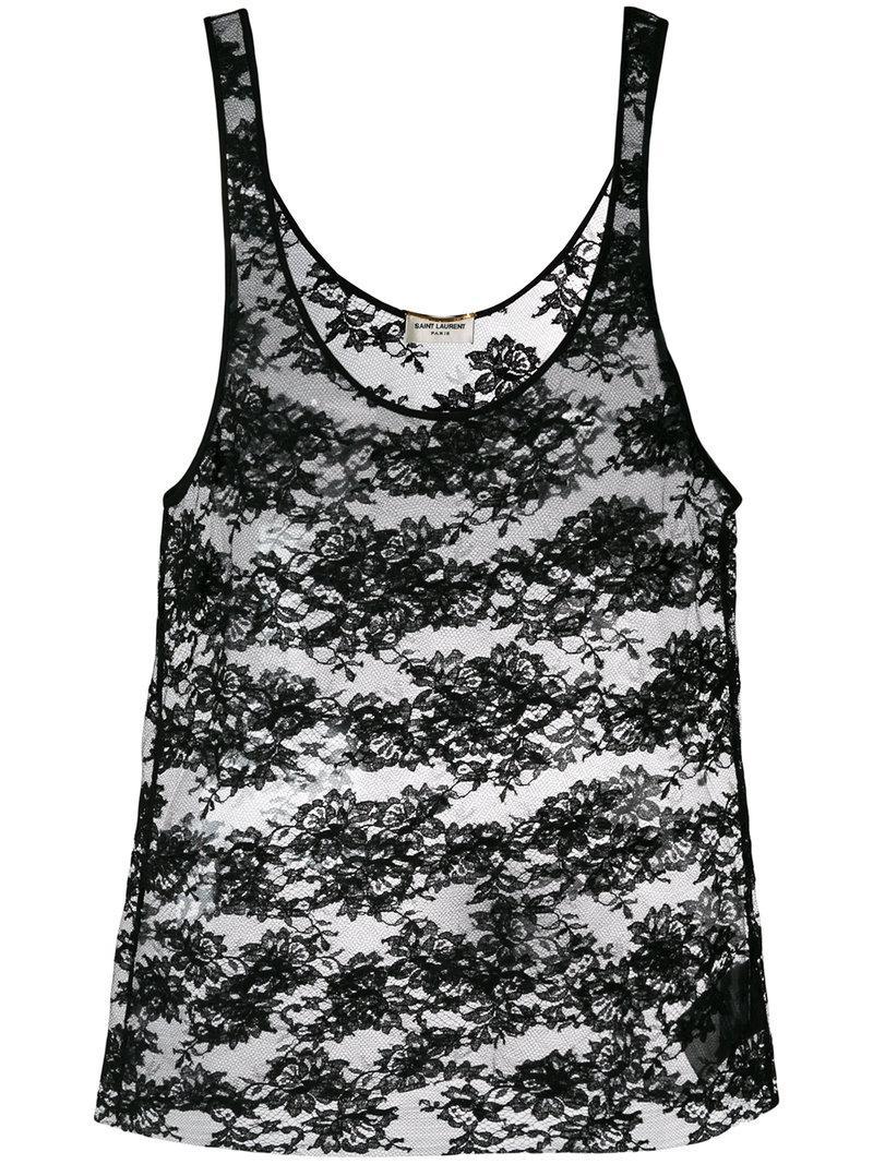 0cd3a4bfd1 Saint Laurent - Black Lace Vest - Lyst. View fullscreen