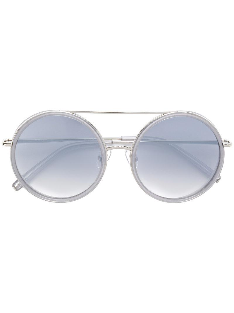 3c6e44b7396 Lyst - Linda Farrow Matthew Williamson Sunglasses in Metallic