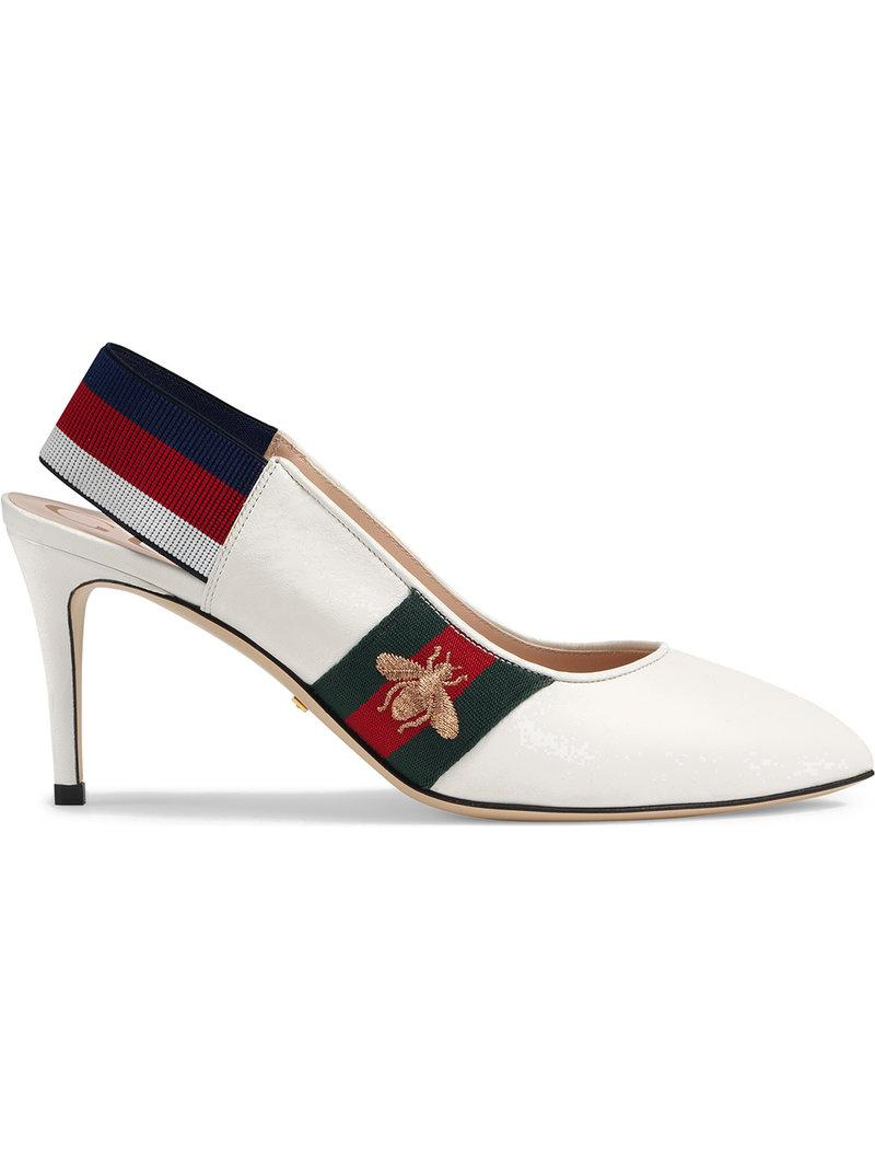 e30eccd8fd9 Gucci Leather Web Mid-heel Slingback Pumps in White - Save 14% - Lyst
