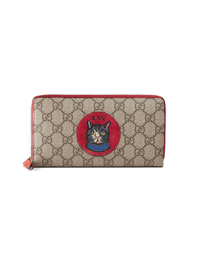 68968b50832 Lyst - Gucci Gg Supreme Mystic Cat Wallet