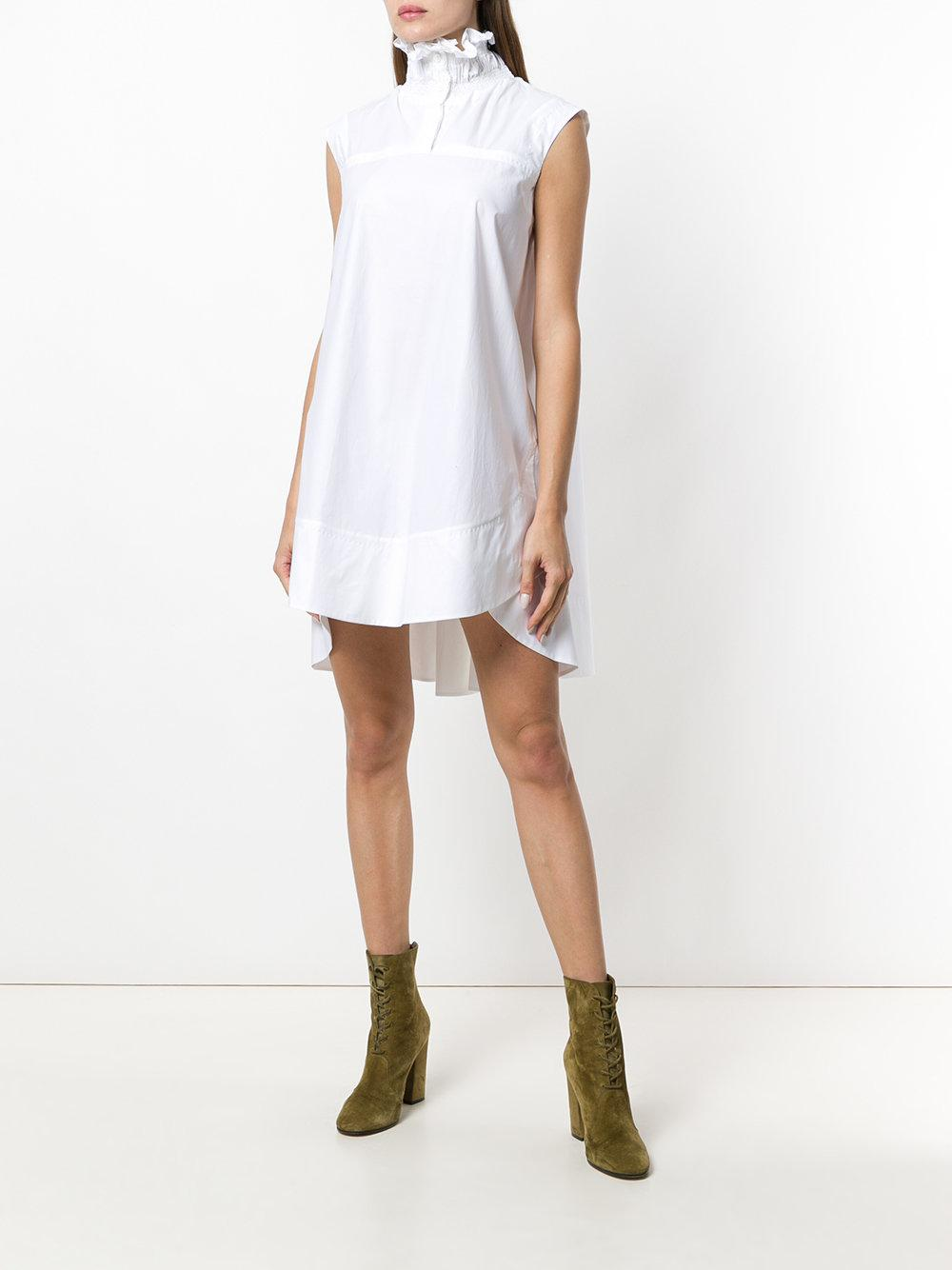 ruffled-collar asymmetri mini dress - White Carven NtrpeaJiYw
