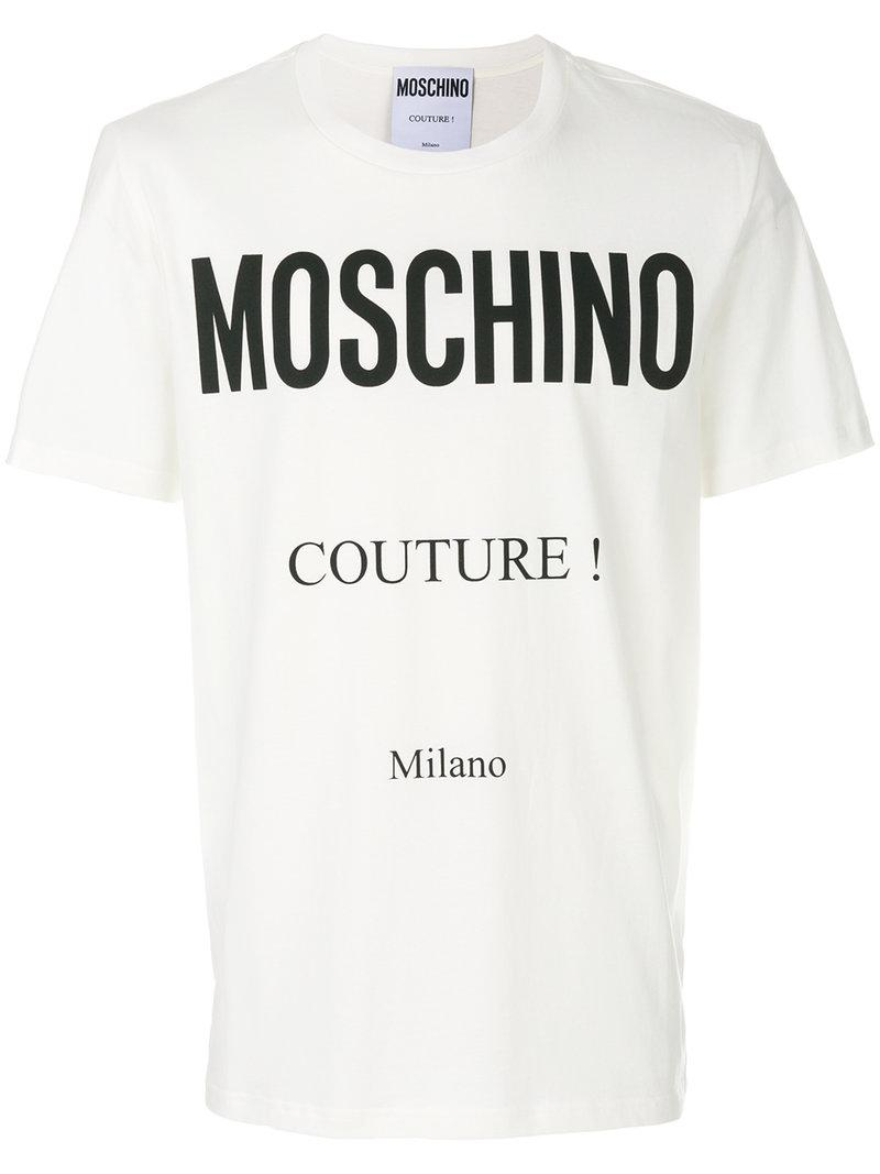b28ec98a Moschino - White Logo-print Cotton-jersey T-shirt for Men - Lyst. View  fullscreen