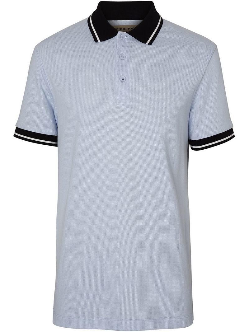 7c36ccd16 Lyst - Burberry Tipped Cotton Piqué Polo Shirt in Blue for Men