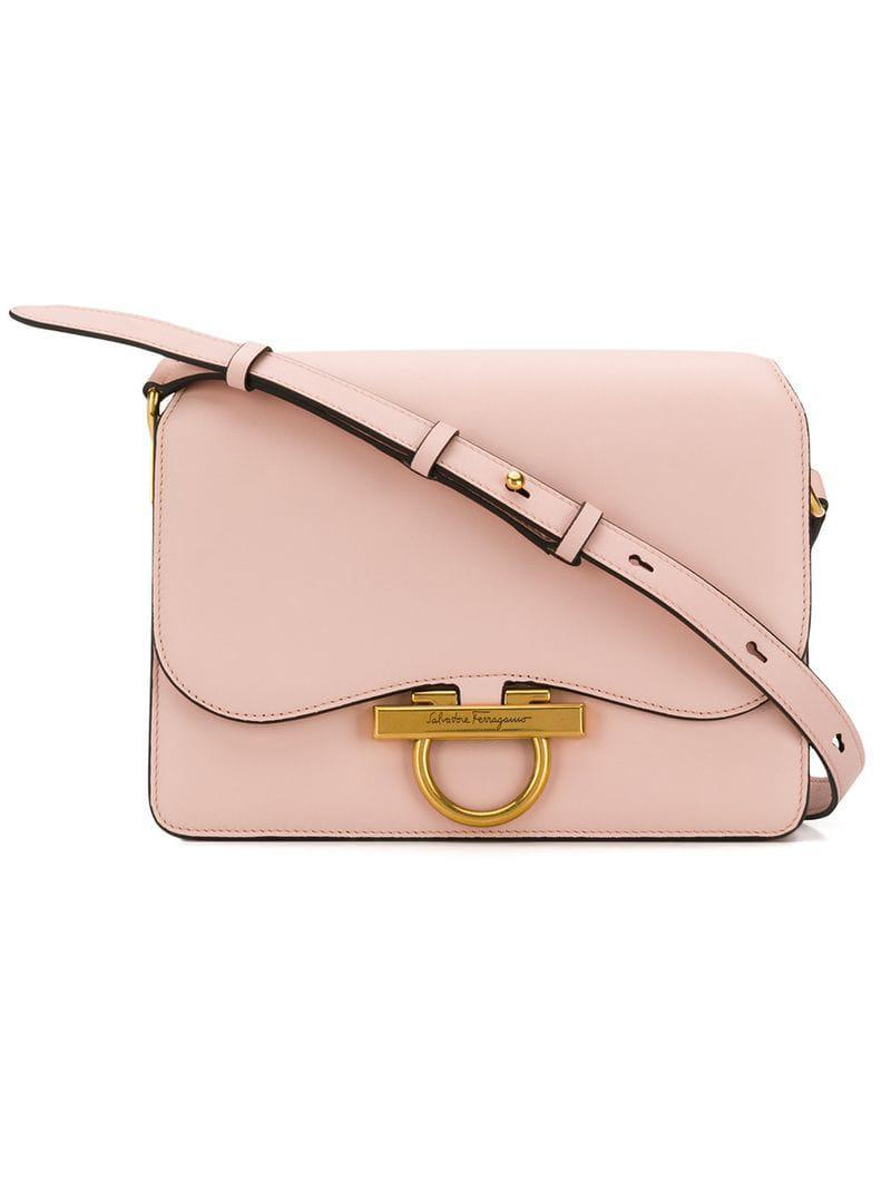 Ferragamo Gancio Flap Shoulder Bag in Pink - Lyst 3a6b3956e6051