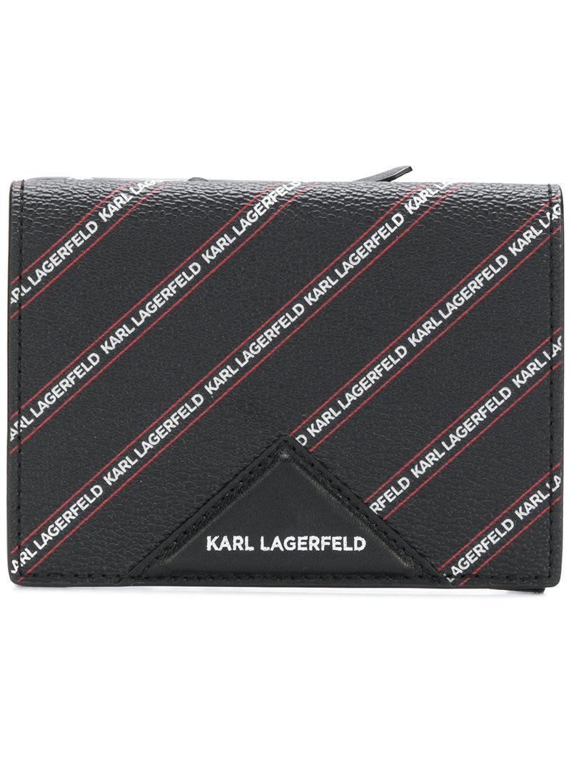 736fd38ff060 Cartera mediana con logo a rayas Karl Lagerfeld de color Negro - Lyst