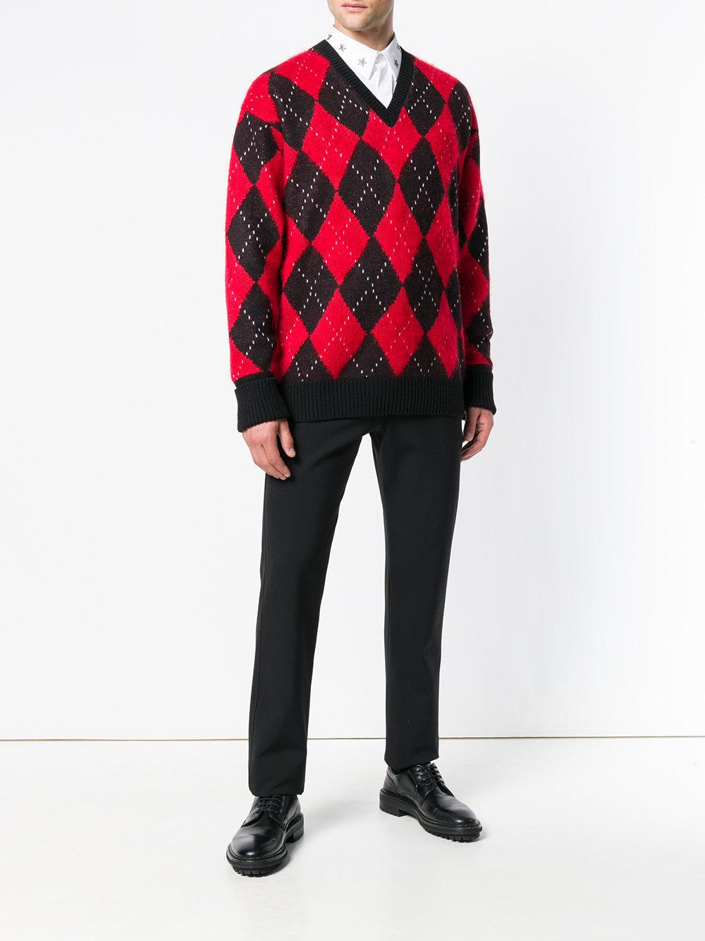 931589f0236cc6 Alexander McQueen Argyle Knit Sweater in Black for Men - Lyst