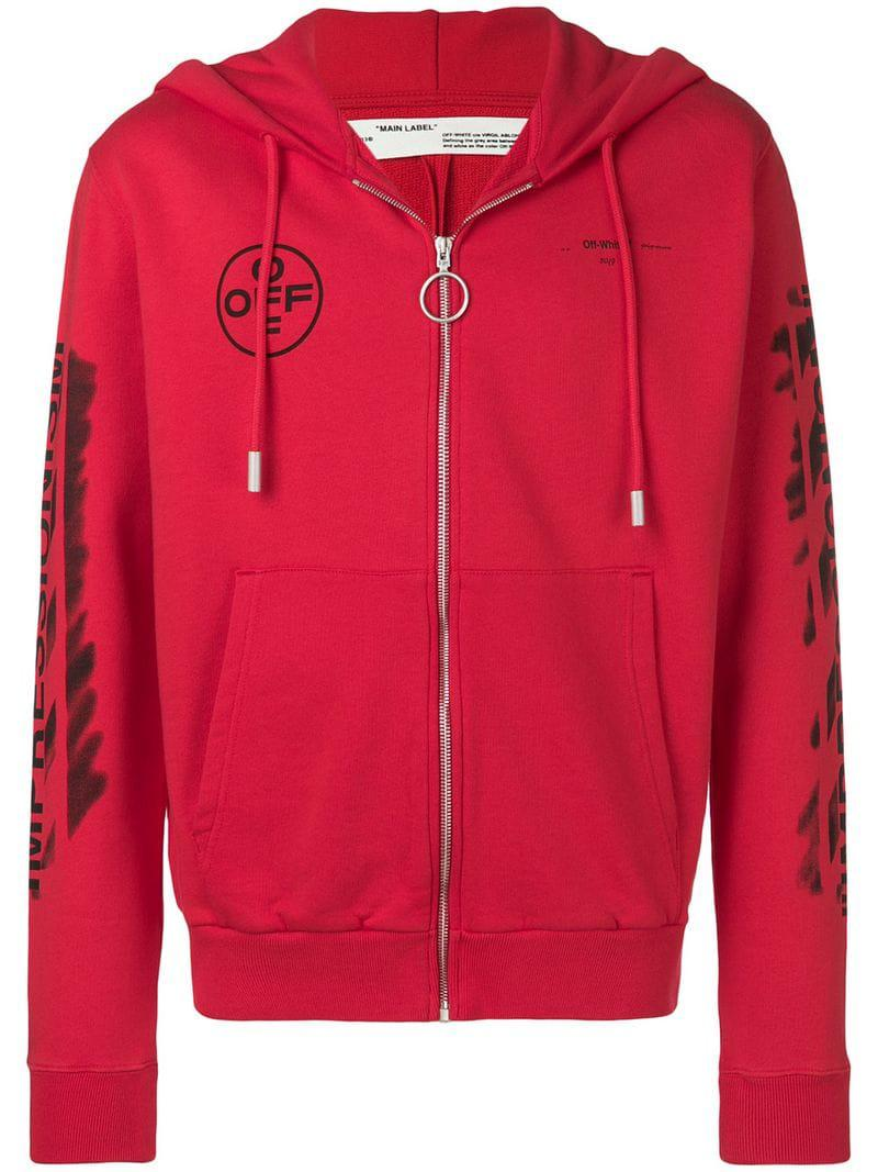 3b64bb1a261f Lyst - Off-White c o Virgil Abloh Diag Stencil Zipped Hoodie in Red ...
