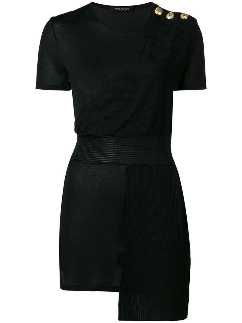eae658b5c2b25a Balmain - Black Ribbed Layer T-shirt - Lyst. View fullscreen