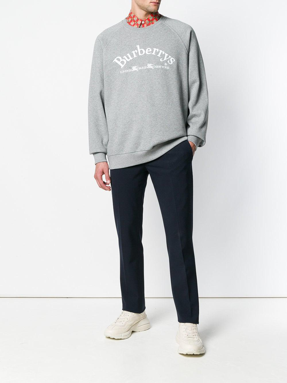 afe4097978e Burberry Embroidered Archive Logo Sweater in Gray for Men - Save 28% - Lyst