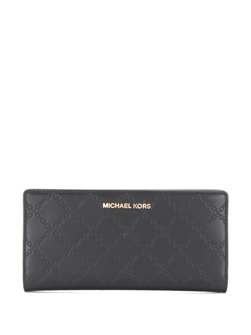 82ec02675c1c7b Lyst - MICHAEL Michael Kors Embossed Logo Wallet in Black