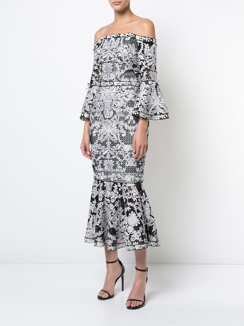 38317f26 Lyst - Marchesa notte Lace-embroidered Midi Dress in Black