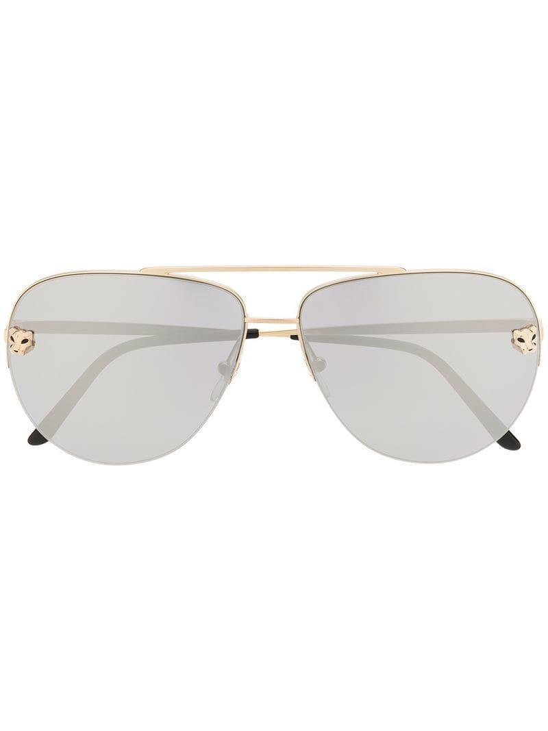 7d2ad19d3d Cartier Panthère De Sunglasses in Metallic - Lyst