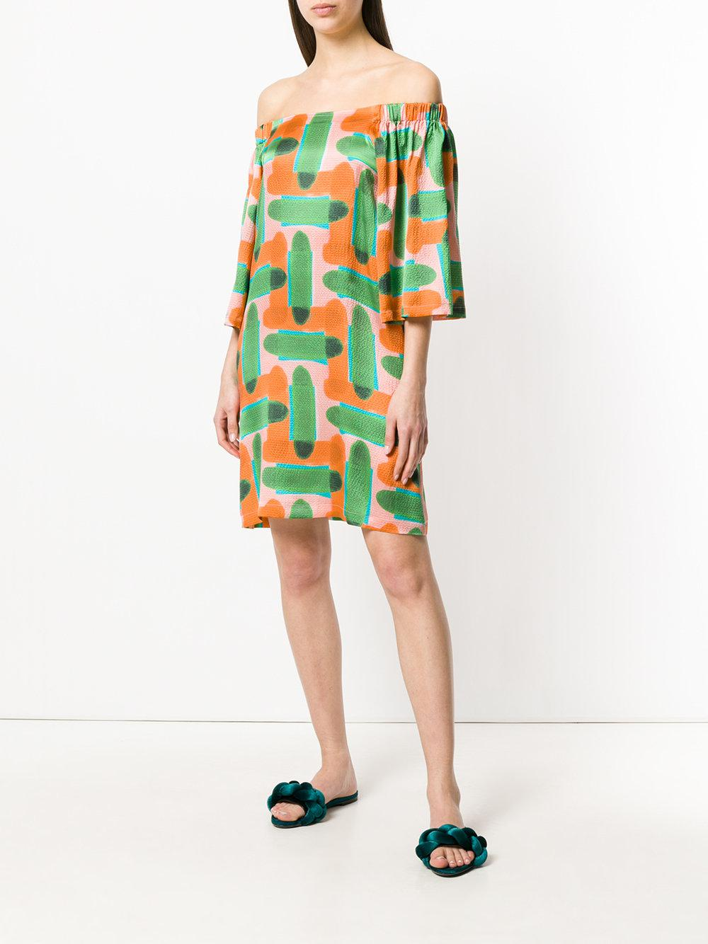 abstract print off-the-shoulder dress - Multicolour L'autre Chose