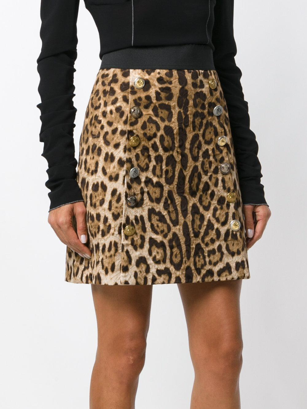e72bf0907c Dolce & Gabbana Mini Brocade Leo Skirt in Brown - Lyst