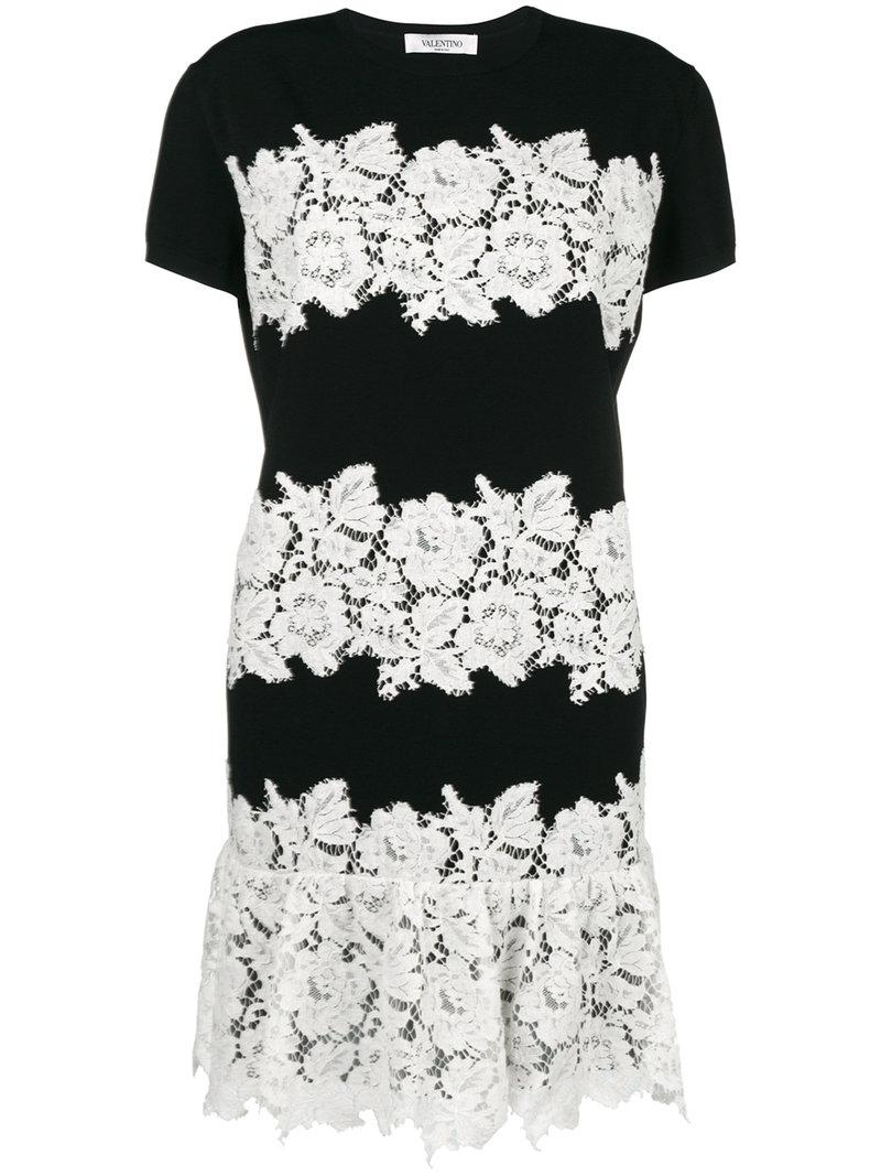 fb3b9a3e3615 Valentino Lace-embroidered Mini Dress in Black - Lyst