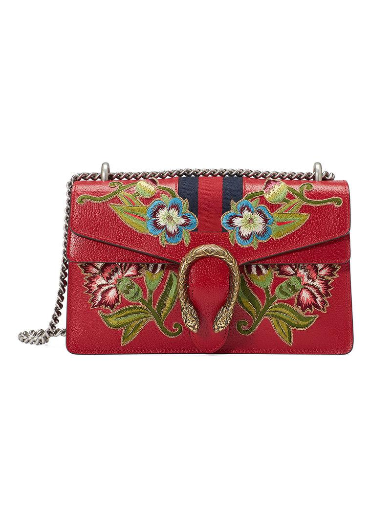 5f4b5bea2416 Gucci Dionysus Embroidered Leather Shoulder Bag in Red - Lyst
