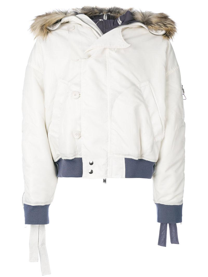 88b82a4bd Y. Project Faux Fur Trim Hooded Jacket in White - Lyst