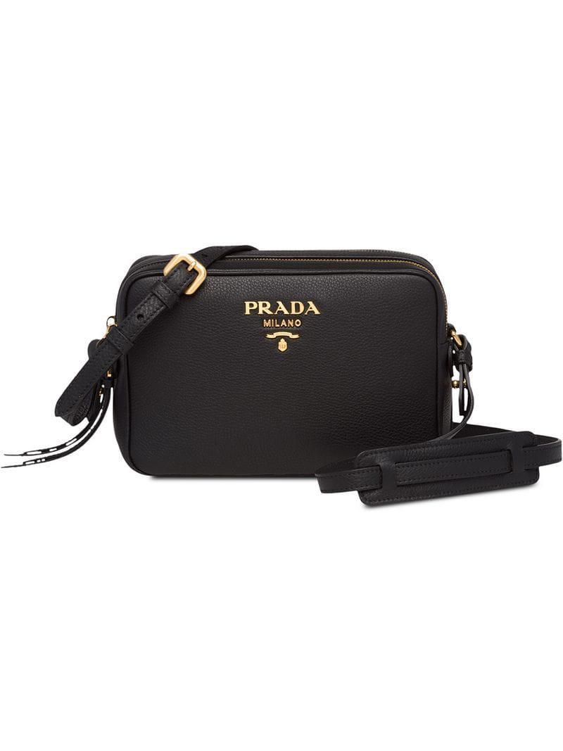 47759fd984b Prada - Black Logo Leather Shoulder Bag - Lyst. View fullscreen