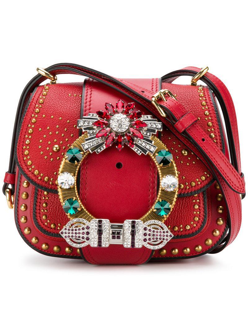 e57c399df462 Lyst - Miu Miu Dahlia Shoulder Bag in Red