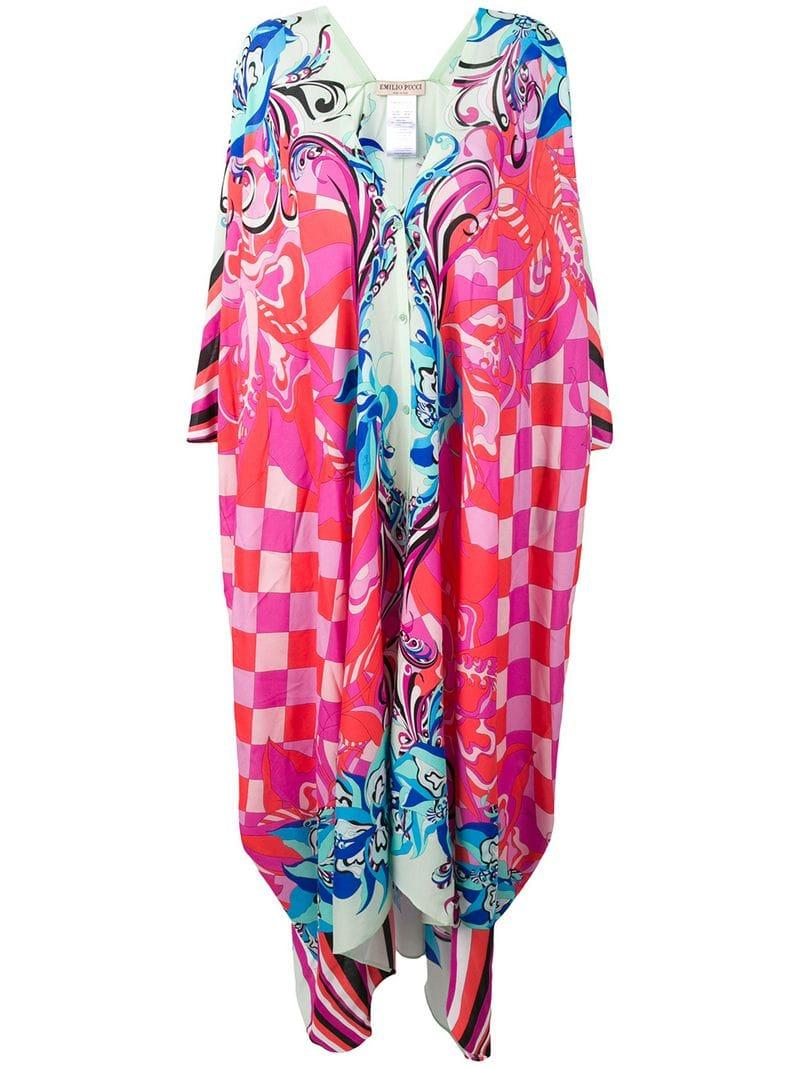 a99e17761b Emilio Pucci Pink Merida Print Beach Kaftan in Pink - Lyst